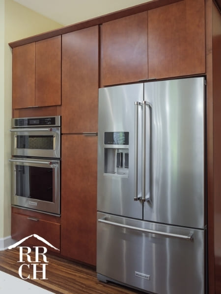 Built-In Appliances in Kitchen Reomdel with Sleek Cabinet Pull Fixtures | Robinson Renovations and Custom Homes