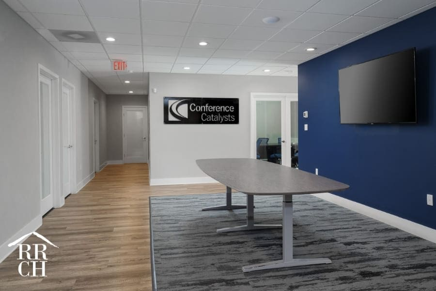 Commercial Office Renovation with Modern Color Palette and Blue Accent Wall Corporate Color Scheme | Robinson Renovation and Custom Homes