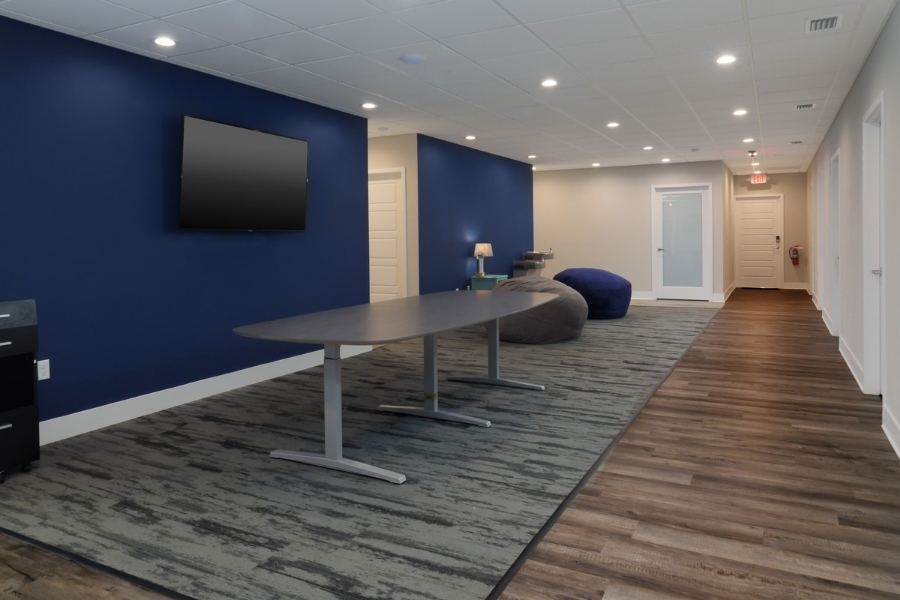 Conference Catalysts Commercial Office Renovation is Modern and Cool with Hues of Blue | Robinson Renovation and Custom Homes, Inc.